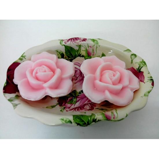 Porte savon+2 savons forme rose