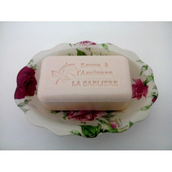 Porte savon + grand savon rose