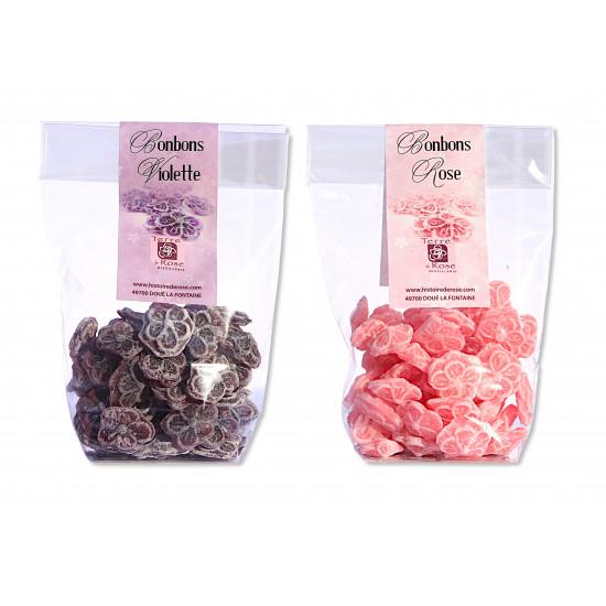Bonbons rose ou violette 100g (lot de 10 unités)